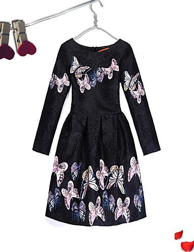 Mädchen Kleid Veranstaltung / Fest Alltagskleidung Baumwolle Polyester Langarm Niedlich Freizeit Prinzessin Weiß Schwarz