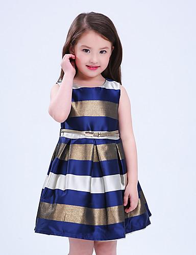 Sukienka Poliester Dziewczyny Wyjściowe Urlop Prążki Bez rękawów Urocza Księżniczka Niebieski Czerwony