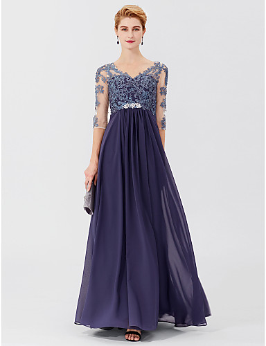 faa3d47e284 A-Line   Ball Gown V Neck Floor Length Chiffon   Sheer Lace Mother of the Bride  Dress with Appliques   Crystals by LAN TING BRIDE®   Beautiful Back   See  ...