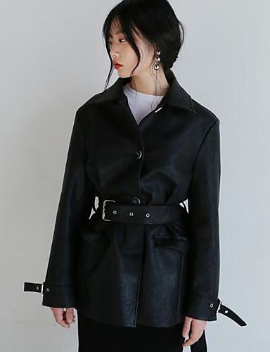 Damen Solide Einfach Ausgehen Lässig/Alltäglich Lederjacken,Hemdkragen Herbst Winter Langarm Standard PU