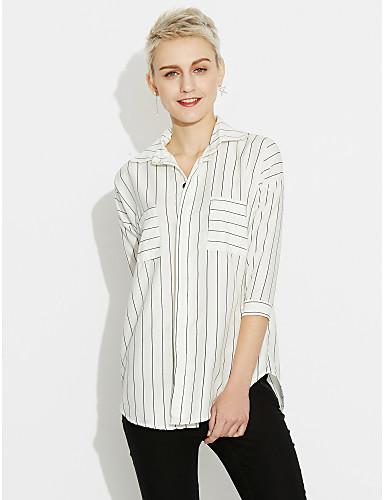billige Topper til damer-Bomull Løstsittende Skjortekrage Skjorte Dame - Stripet Ut på byen Hvit / fin Stripe