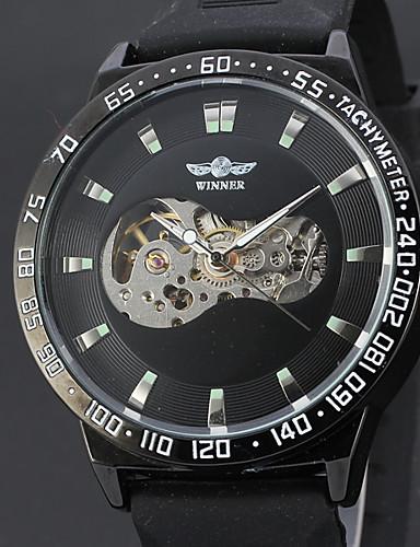 WINNER Męskie Nakręcanie automatyczne zegarek mechaniczny Zegarek na nadgarstek Hollow Grawerowanie Skóra Pasmo Luksusowy Vintage Na co