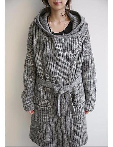 Damskie Dzienne zużycie Casual Solidne kolory Długi rękaw Długie Sweter rozpinany, Kaptur Jesień Szary Jeden rozmiar