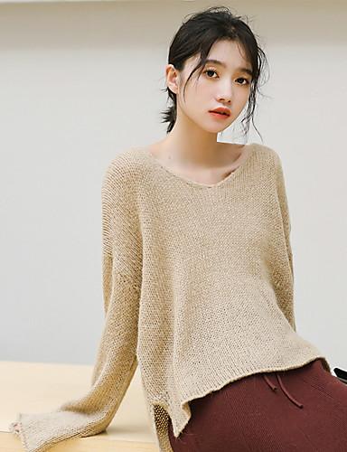 Damen Freizeit Baumwolle Langarm Pullover - Solide V-Ausschnitt / Herbst