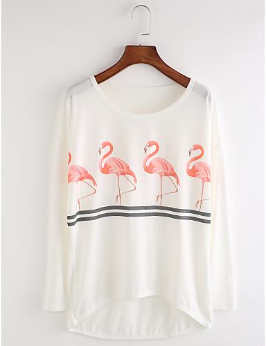 Damen Druck Niedlich Lässig/Alltäglich T-shirt,Rundhalsausschnitt Herbst Langarm Baumwolle Dünn