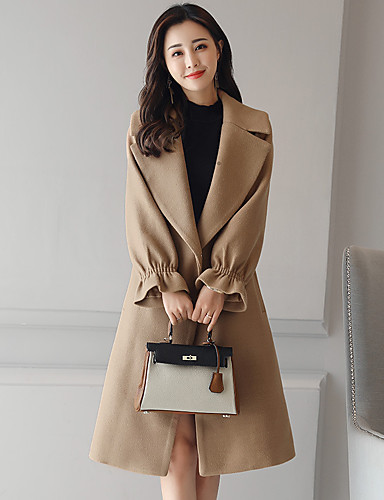 Damen Solide Einfach Lässig/Alltäglich Arbeit Mantel Winter Herbst Langarm Lang Acryl Polyester