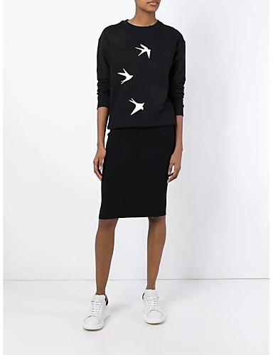 Damen Pullover Ausgehen Lässig/Alltäglich Niedlich Aktiv Solide Druck Mikro-elastisch Baumwolle Andere