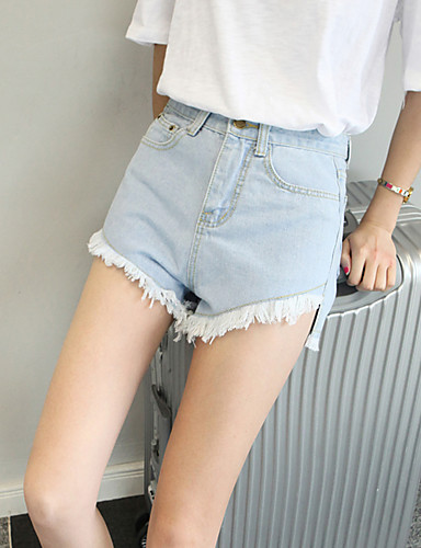 Women's Medium Waist strenchy Relaxed Jeans Shorts Pants,Casual Sexy Street chic Solid Cotton Summer