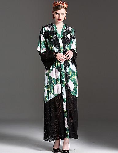 Damen Swing Kleid-Alltag Blumen Rundhalsausschnitt Knielang Langarm Polyester Frühjahr, Herbst, Winter, Sommer Mittlere Hüfthöhe