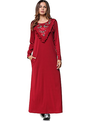 Damen Swing Kleid-Lässig/Alltäglich Solide Stickerei Rundhalsausschnitt Maxi Langärmelige Baumwolle Alle Jahreszeiten Mittlere Hüfthöhe