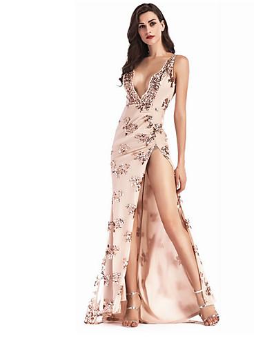 9da8f94edc Mujer Fiesta Vaina Vestido Floral Maxi Con Tirantes Negro   Lentejuela    Sexy