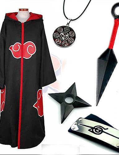 povoljno Anime cosplay-Inspirirana Naruto Sasuke Uchiha Anime Cosplay nošnje Cosplay Suits / More Accessories Print Plašt / More Accessories Za Muškarci