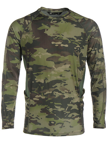 1a361a816ec3e Men's Camouflage Hunting T-shirt Outdoor Waterproof Windproof Breathable  Quick Dry Spring Summer Fall Top Hunting Leisure Sports Dark Green  Camouflage Green ...