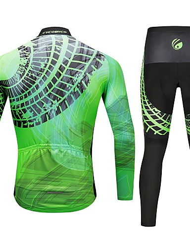 cheap Cycling Clothing-CYCOBYCO Men's Long Sleeve Cycling Jersey with Tights - Green Bike Pants / Trousers Jersey Tights 3D Pad Quick Dry Reflective Strips Sports Lycra Fashion Mountain Bike MTB Road Bike Cycling Clothing