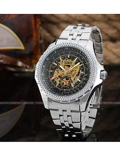 WINNER Męskie Nakręcanie automatyczne zegarek mechaniczny Zegarek na nadgarstek Hollow Grawerowanie Stal nierdzewna Pasmo Luksusowy