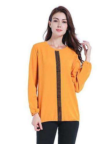 Damen Solide Übergrössen T-shirt Spitze Polyester