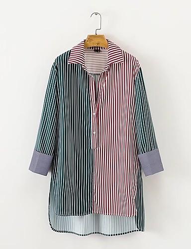 billige Topper til damer-Bomull Skjortekrage Skjorte Dame - Stripet / Fargeblokk, Drapering Aktiv Ut på byen Grønn