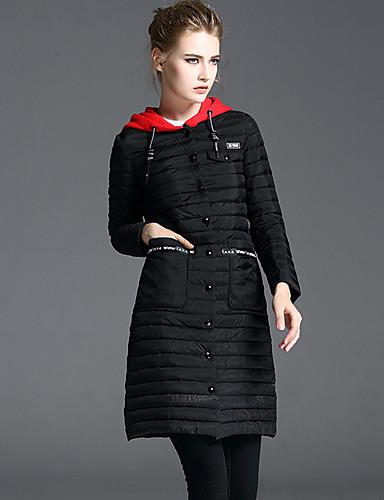 Damen Daunenjacke Mantel,Lang Street Schick Lässig/Alltäglich Solide-Polyester Langarm