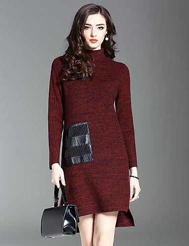 Damen Strickware Kleid-Ausgehen Lässig/Alltäglich Solide Ständer Knielang Langarm Wolle Herbst Winter Mittlere Taillenlinie Dehnbar Mittel