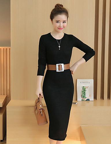 Damen Bodycon Kleid-Lässig/Alltäglich Solide Rundhalsausschnitt Midi Langarm Baumwolle Herbst Hohe Taillenlinie Mikro-elastisch Mittel