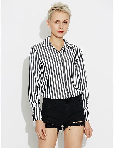 Damen Gestreift Baumwolle Hemd, Quadratischer Ausschnitt