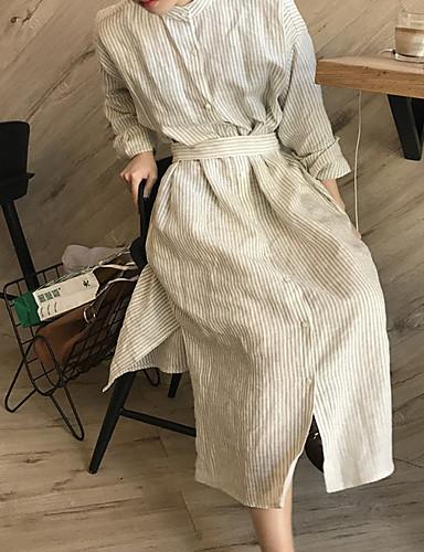 Damen Swing Kleid-Ausgehen Lässig/Alltäglich Gestreift Hemdkragen Midi Langarm Polyester Mittlere Hüfthöhe Unelastisch Mittel
