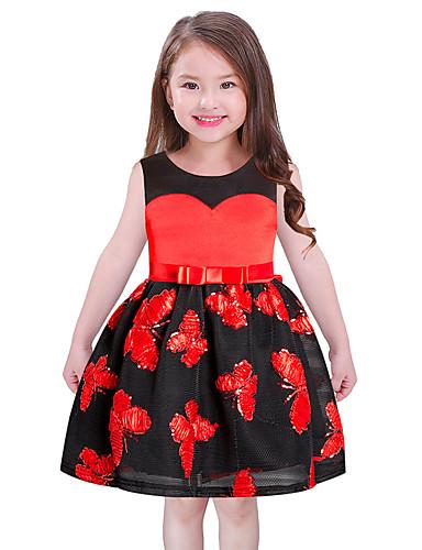 Mädchen Kleid Blumen Polyester Ärmellos Niedlich Prinzessin Rote