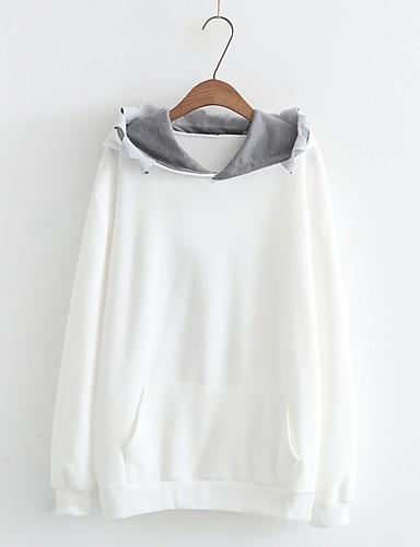 Damen Kapuzenshirt Ausgehen Lässig/Alltäglich Niedlich Aktiv Solide Druck Mikro-elastisch Baumwolle Andere