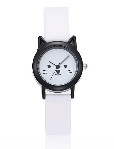 นาฬิกาข้อมือ นาฬิกาอิเล็กทรอนิกส์ (Quartz) ยางทำจากซิลิคอน ดำ / สีขาว ระบบอนาล็อก สุภาพสตรี นาฬิกา Creative ที่เป็นเอกลักษณ์ - ขาว สีดำ