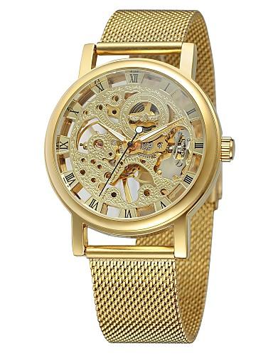 WINNER Męskie Nakręcanie automatyczne Zegarek na nadgarstek Hollow Grawerowanie Stal nierdzewna Pasmo Vintage Na co dzień Do sukni /