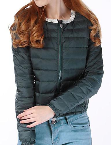 Damen Gefüttert Mantel Niedlich Street Schick Ausgehen Solide Druck-Polyester Langarm