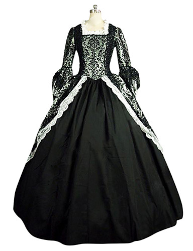 Rokoko Victoriansk 18. århundrede Kostume Dame Kjoler Festkostume Maskerade Sort Vintage Cosplay Blonde Linned Satin Langærmet Lang Længde Halloween Kostumer