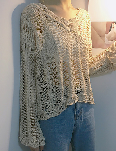 Damen Standard Pullover-Lässig/Alltäglich Solide V-Ausschnitt Langarm Acryl Dünn Mikro-elastisch