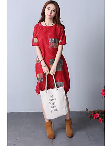 Damen Tunika Kleid-Party Ausgehen Geometrisch Rundhalsausschnitt Knielang Halbe Ärmel Baumwolle Hohe Taillenlinie Unelastisch Mittel