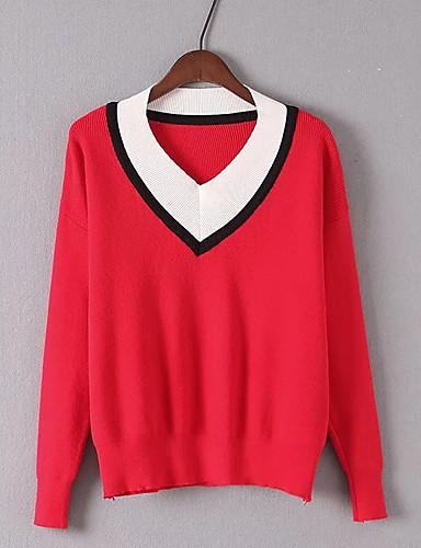 Damen Standard Pullover-Lässig/Alltäglich Arbeit Solide Einfarbig V-Ausschnitt Langarm Andere Dünn Dehnbar