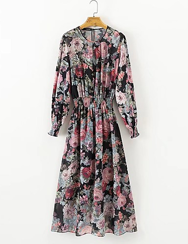 Damen Lose Kleid-Ausgehen Lässig/Alltäglich Blumen Einfarbig Rundhalsausschnitt Midi Langarm Baumwolle Andere Mittlere Hüfthöhe