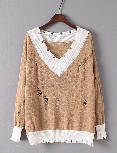 Damen Standard Pullover-Ausgehen Lässig/Alltäglich Einfarbig V-Ausschnitt Langarm Baumwolle Andere Mittel Dick Mikro-elastisch