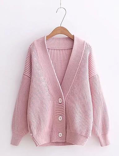 Damen Lang Strickjacke-Ausgehen Lässig/Alltäglich Solide V-Ausschnitt Langarm Wolle Baumwolle Andere Dünn Mittel Mikro-elastisch
