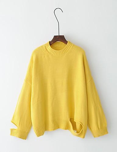 Damen Standard Pullover-Ausgehen Lässig/Alltäglich Solide Rundhalsausschnitt Langarm Andere Mittel Dick Mikro-elastisch