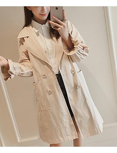 Damen Solide Street Schick Lässig/Alltäglich Mantel,V-Ausschnitt Herbst Winter Langarm Lang Baumwolle