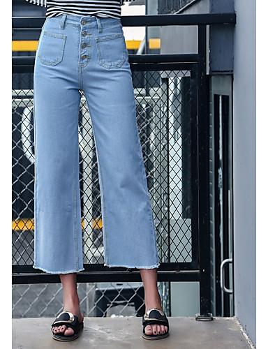Damen Unelastisch Breites Bein Jeans Hose Solide