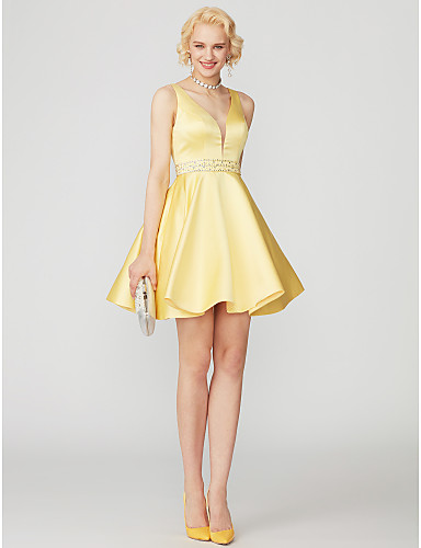 A-Line / Princess Plunging Neck Short / Mini Satin Open Back Cocktail Party Dress with Beading / Pocket by TS Couture®