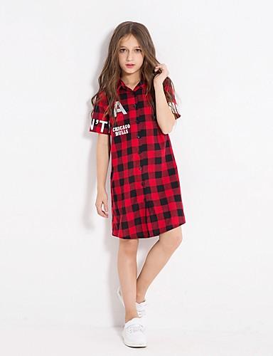 Sukienka Bawełna Dziewczyny Codzienne Pled Jesień Zima Długi rękaw Prosty Czerwony