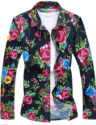Koszula Męskie Wzornictwo chińskie Bawełna Kwiaty / Długi rękaw