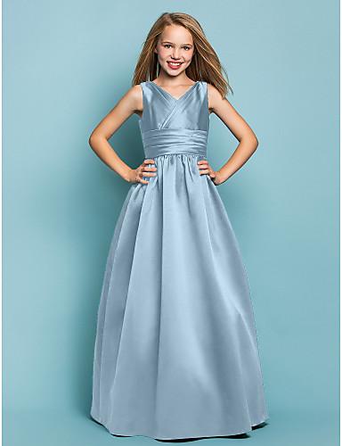 7c7e7c9267f Χαμηλού Κόστους Φορέματα για παρανυφάκια-Γραμμή Α / Πριγκίπισσα Λαιμόκοψη V  Μακρύ Σατέν Φόρεμα Νεαρών