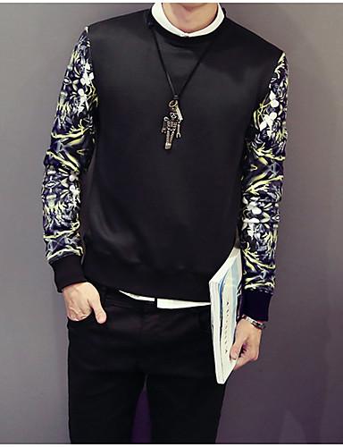 Męskie Długi rękaw Bluzy z kapturem i bluzy Nadruk Okrągły dekolt