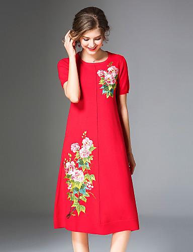 Damskie Wzornictwo chińskie Boho Linia A Sukienka - Kwiaty