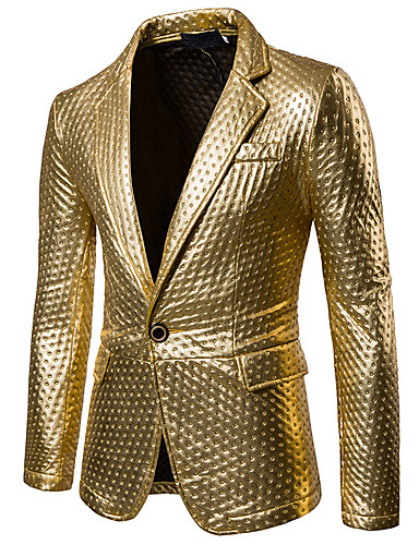 cheap Up to 90% off-Men's Party / Casual / Daily Sophisticated Spring / Fall Regular Blazer, Solid Colored Shirt Collar Long Sleeve PU Cut Out Gold / Black / Silver L / XL / XXL / Slim