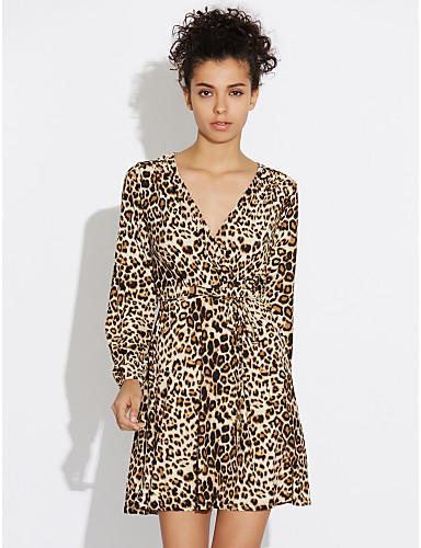 Damen Bodycon Hülle Kleid - Gefaltet, Leopard Mini Tiefes V Hohe Hüfthöhe