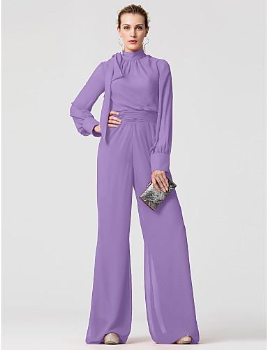 abordables robe invitée mariage-Combinaisons Col Haut Longueur Sol Mousseline de soie Robe avec Noeud(s) / Ceinture / Ruban par TS Couture®